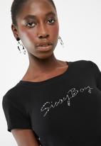 Sissy Boy - Logo with side eyelet lace up dress - black