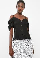 STYLE REPUBLIC - Cold shoulder front button top - black