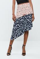 Missguided - Satin midi skirt - pink & blue