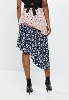 Missguided - Satin midi skirt - pink & blue