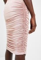 Superbalist - Midi bodycon skirt with ruched detail 2 pack - pink & black