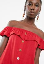 Superbalist - Off the shoulder button through top with frill - red