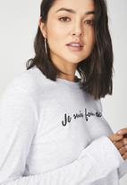 Cotton On - Tbar tammy summer chopped graphic long sleeve tee - white