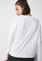 Cotton On - Tbar tammy chopped graphic long sleeve - white