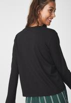 Cotton On - Tbar tammy chopped graphic long sleeve - black