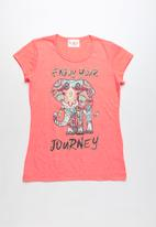 POP CANDY - Enjoy your journey printed short sleeve tee - coral