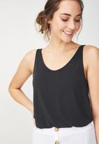 Cotton On - Tia scooped high low tank - black