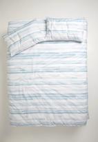 Sixth Floor - Brushstroke printed duvet set - blue & white