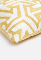 Sixth Floor - Kari woven cushion cover - yellow & white