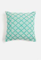 Sixth Floor - Roscoe woven cushion cover - turquoise