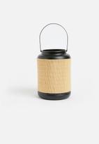 Present Time - Lines bamboo lantern - medium black