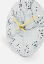 Present Time - Glass marble wall clock - small white