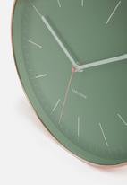 Present Time - Minimal wall clock - jungle green & copper case
