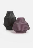 Present Time - Stripes vase glass - matte small purple
