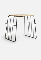 Present Time - Wired side table - metal black & magazine rack