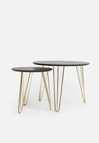 Present Time - Sparks table set - black & gold plated legs