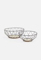 Present Time - Basket set - iron black & wood