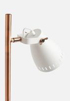 Present Time - Mingle floor lamp - metal white, wood print & copper