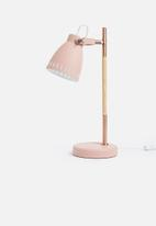 Present Time - Mingle table lamp - metal pink, wood print & copper