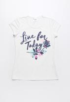 POP CANDY - Live for today printed short sleeve tee - white