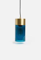 Present Time - LAX pendant - blue glass & gold