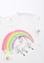 POP CANDY - Unicorn printed short sleeve tee - white