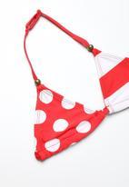 POP CANDY - Printed colour block bikini - red