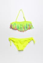 POP CANDY - Fringed banded bikini - yellow