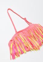 POP CANDY - Fringed banded bikini - pink