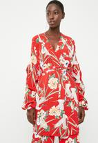 STYLE REPUBLIC - Volume wrap kimono jacket - red