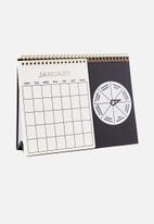 Typo - Spin my wheel calendar - black & white