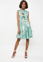 Revenge - Floral fit and flare dress - blue