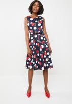 Revenge - Flora spot sleeveless dress - navy