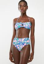 London Hub - Floral bandeau high waist bikini set - multi