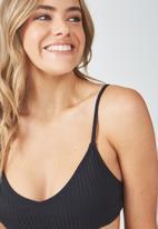 Cotton On - Poppy rib V-neck bralette bikini top - black