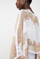 Lithe - Border print kaftan - white