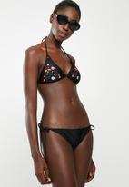 London Hub - Embroidered side tie bikini set - black