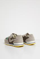 POP CANDY - Kids leather combo strap and lace sneaker - green & grey