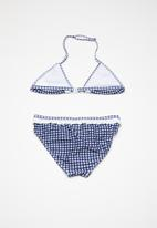POP CANDY - Gingham check frill bikini - blue & white