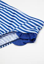 POP CANDY - Striped bikini set with frill detail - blue & white
