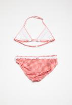 POP CANDY - Gingham check frill bikini - red