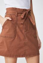 Cotton On - Woven utility twill mini skirt - tan