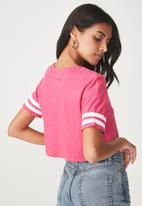 Supré  - Loose crop stripe sleeve tee - pink