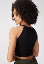 Supré  - Courtney cutaway rib top - black
