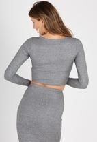 Supré  - Luxe rib long sleeve crop - grey