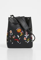 Superbalist - Claire floral embroidered bag  PU - black