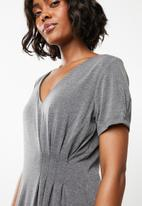 G Couture - Asymmetrical pleat detail dress - grey