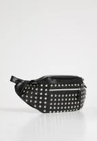 Superbalist - Wiz studded waist bag faux leather - black