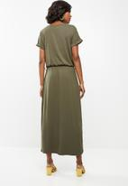 G Couture - Boat neck wrap tulip dress - khaki