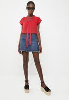 Superbalist - Ruffle sleeve key hole blouse - red